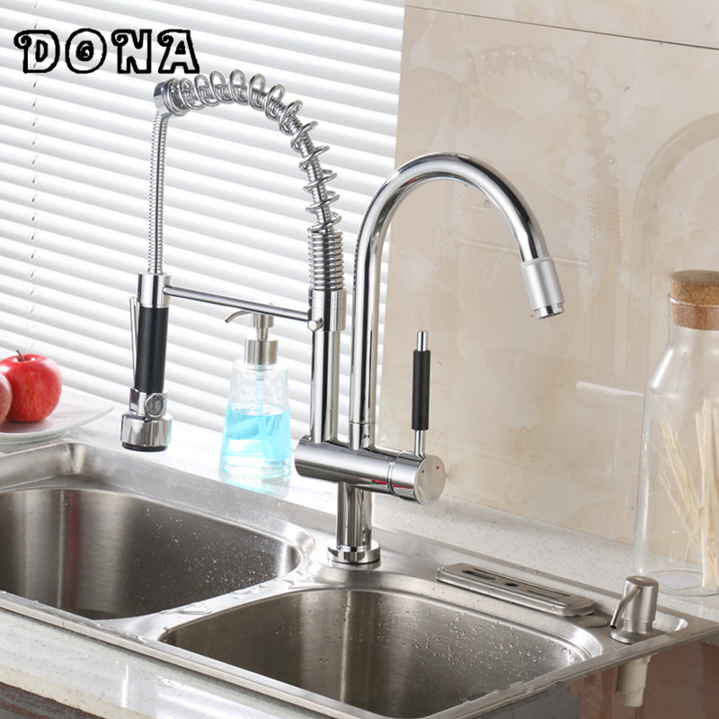 Chrome Finish Solid Brass Double Swivel Spout Spring Kitchen Faucet pull down water power kitchen faucet Mixer tap DONA1190 led spout swivel spout kitchen faucet vessel sink mixer tap chrome finish solid brass free shipping hot sale