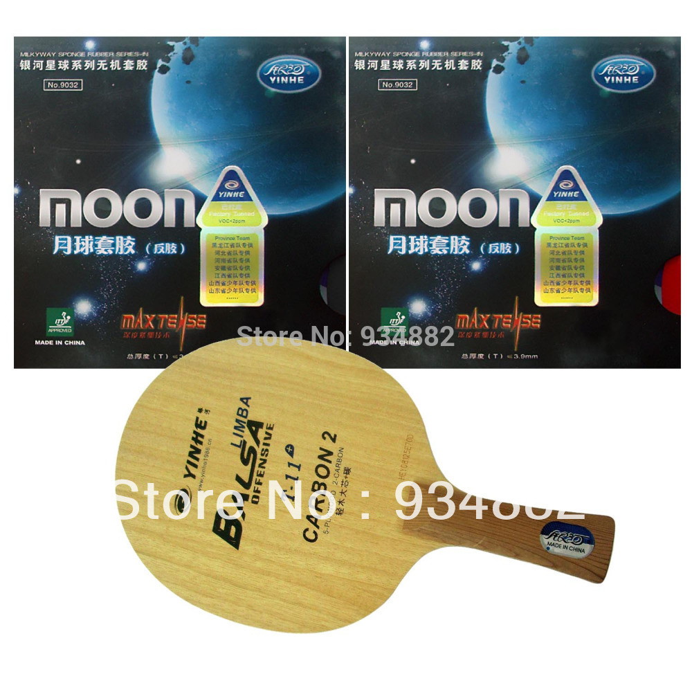 Pro Table Tennis (Ping Pong) Combo Paddle / Racket: Yinhe T-11+ + 2 Pcs Moon (Factory Tuned) Shakehand Long Handle FL boer table tennis 1 star ping pong racket paddle
