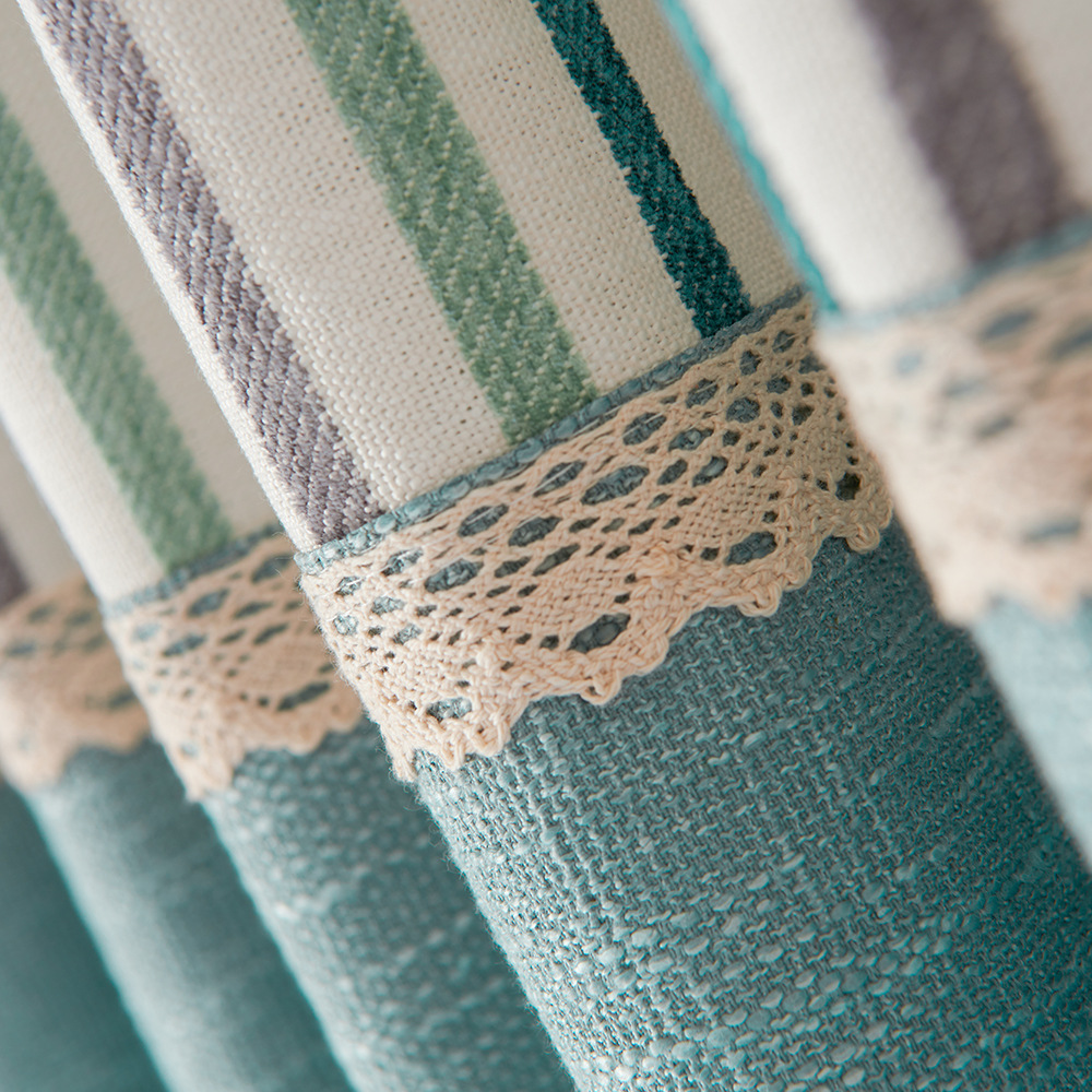 Curtains For Living Room Bedroom New Products Modern Simple Cotton And Linen Splicing Light Stripes Are Simple And Green