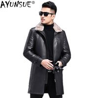 AYUNSUE натуральная кожа куртка мужская зимняя овчина пальто пуховик норковый меховой воротник овечья шерсть куртка JLK17727 KJ1204