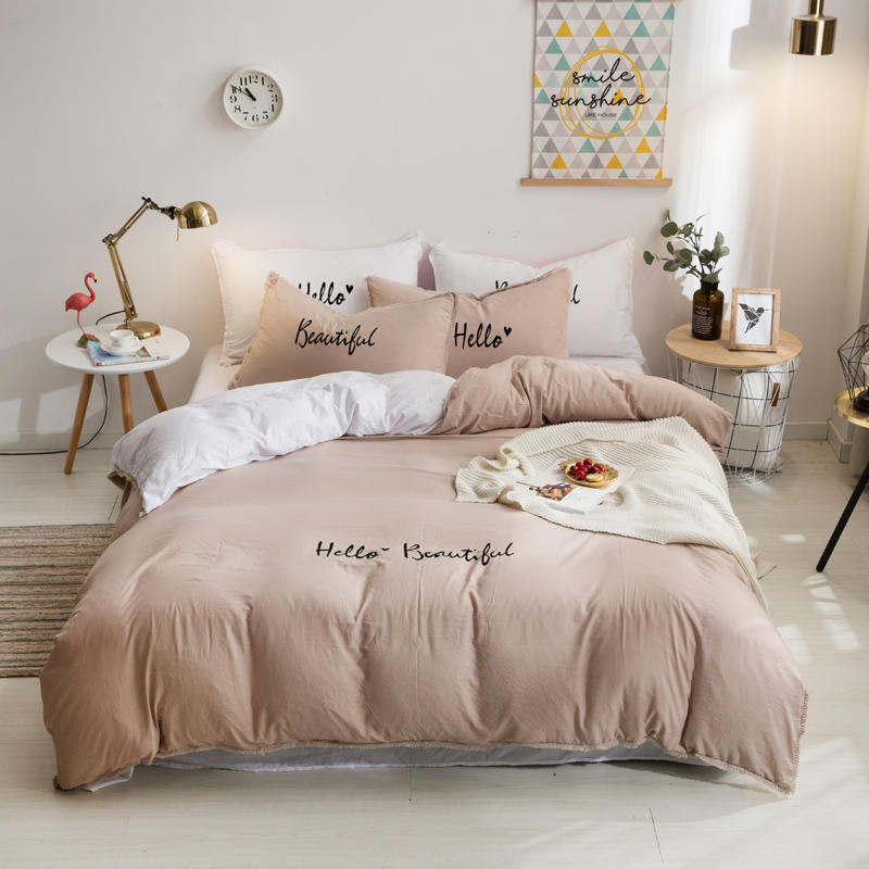 Soft Bed Sheets Duvet Cover Pink Girls Twin Queen King Size Bedding Set White Gray Purple Bed Set Fitted Sheet Ropa De Cama