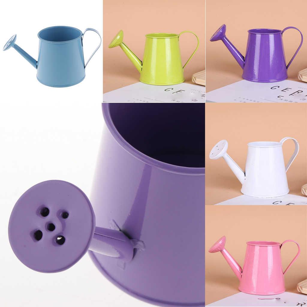 Pastoral Style Iron Metal Watering Can Flower Pots Vase Garden Decor Purple