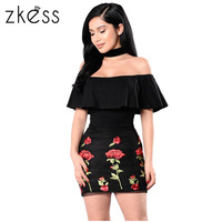 Zkess Ruffle Off Shoulder Summer Dresses Floral Embroidered Little Black Dress 2017Casual Vintage Ladies Elegant Dresse