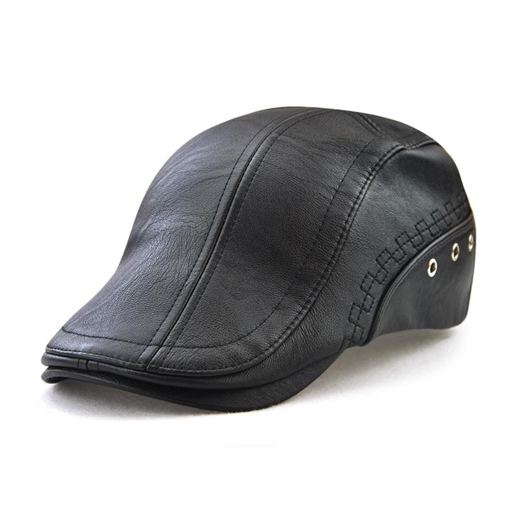Fashion Unisex Beret Hats Breathable Leather Casquette Boina Buckle Visors Golf Driving Flat Detective Hat Casquette Newsboy Cap