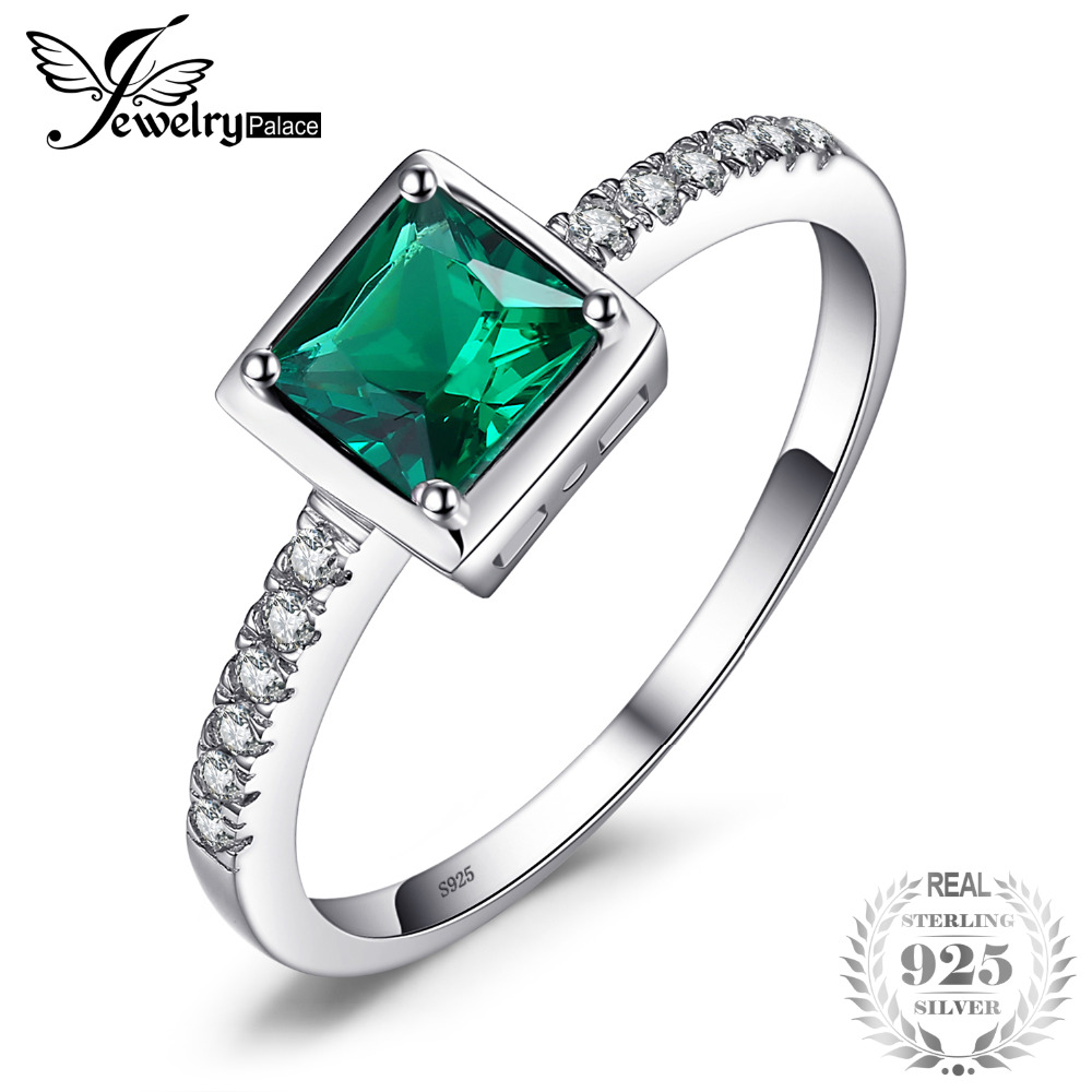 JewelryPalace Square Created Green Emerald Solitaire Ring 925 Sterling Silver Rings for Women Fine Jewelry Engagement Rings цена