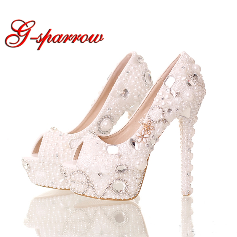 Summer Peep Toe White Pearl Shoes Wedding Bridal 14cm High Heels Platform Crystal Bride Shoes Handmade