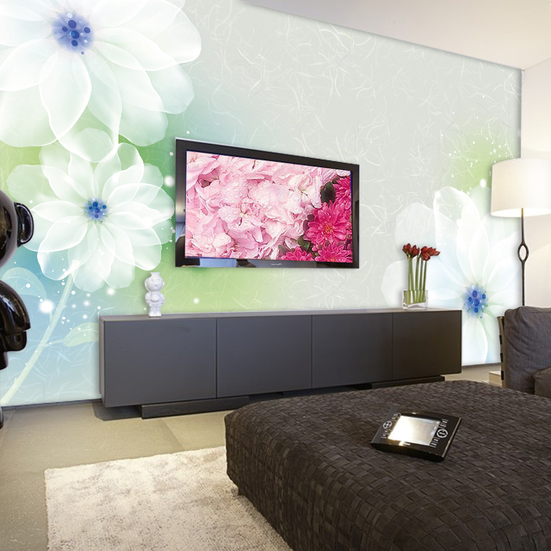 Can Be Customized Romantic Fashion Large Mural Art 3d Wallpaper,abstract Wall Paper Sweet White Flowers Photo Bedroom Home Decor