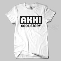 2017 New Arrival Arabic Letter AKHI COOL STORY Printed T Shirt Unisex Islamic Tee Shirts High