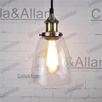 Лампочка подвесной светильник бронза стекло оттенок D140mm подвесной светильник Урожай латунь закончил Железный собрались светильник для ма...
