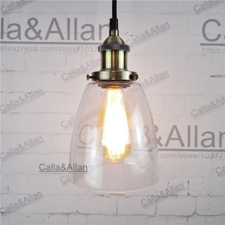 Light bulb pendant lamp bronze glass shade D140mm pendant light vintage brass finished iron assembled light fixture for shop