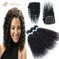 Barato 8A cabelo virgem indiano com fechamento onda de água indiano do cabelo humano Lace encerramento com 3 Bundles não transformados cabelo humano tece
