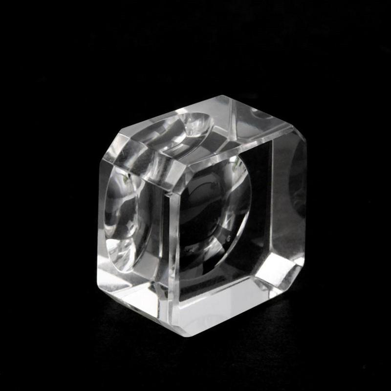 1X Clear Crystal Square Block Sphere Rocks Base Stand Holder Display Stone Decor