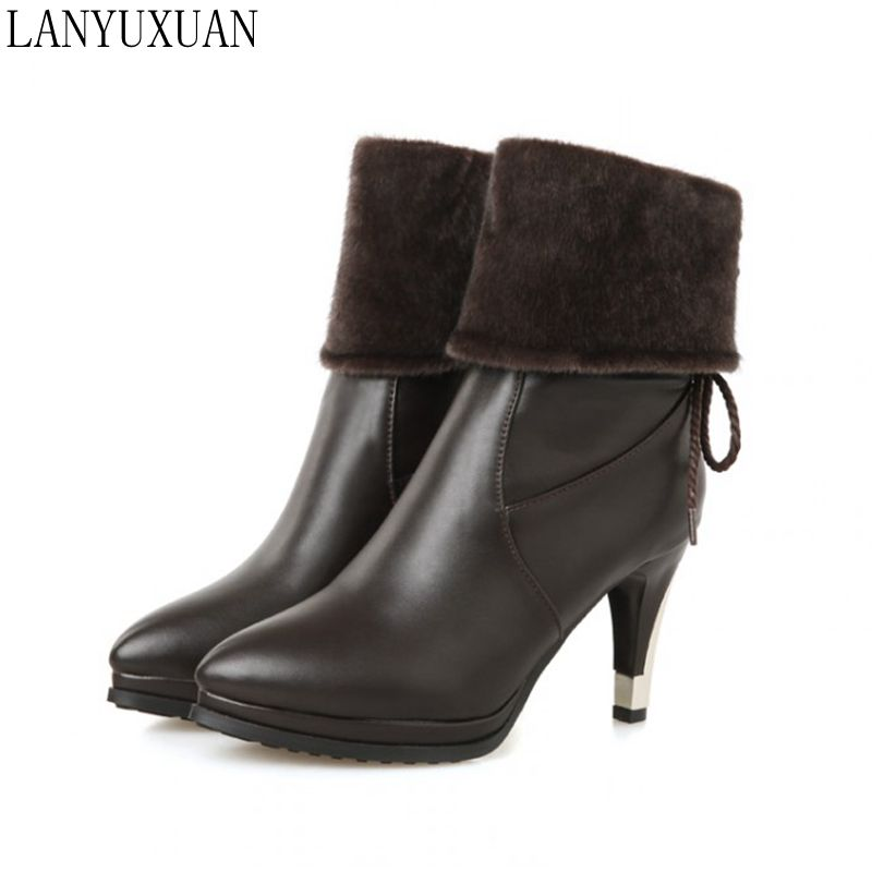 LANYUXUAN 2017 Big size 28-52  Botas Mujer Winter Boots Shoes Woman Fashion Motocicleta Mulheres Martin  Women Boots Hq282 lanyuxuan 2017 new hot big
