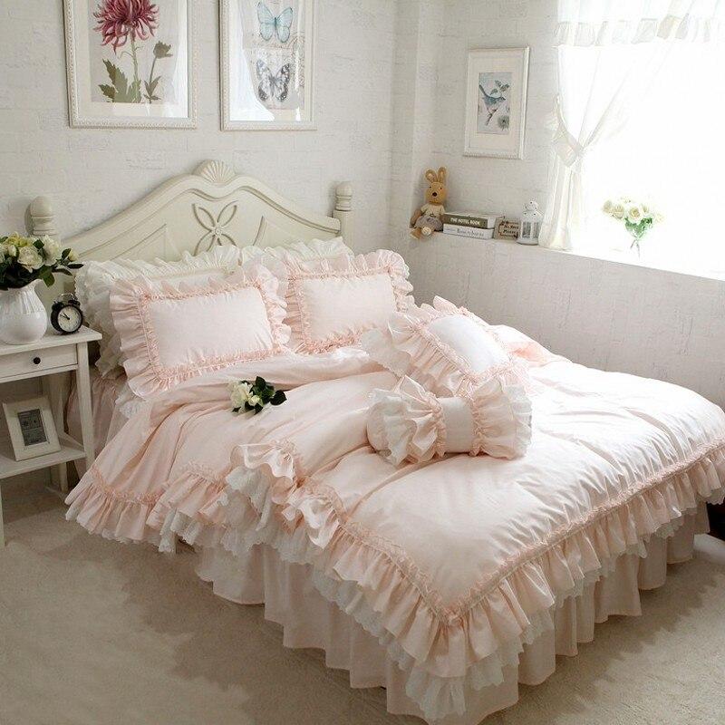 Вышивка Принцесса постельных принадлежностей класса люкс 4 шт. Элегантный рюшами пододеяльник устанавливает Романтические свадебные покр