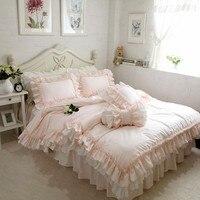 Вышивка принцессы постельных принадлежностей класса люкс 4 шт. Элегантный рюшами пододеяльник устанавливает Романтические свадебные покр