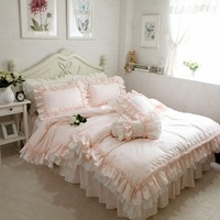 Embroidery luxury bedding set Super sweet princess bedding ruffle duvet cover Wedding decorative bedding bed sheet cover set