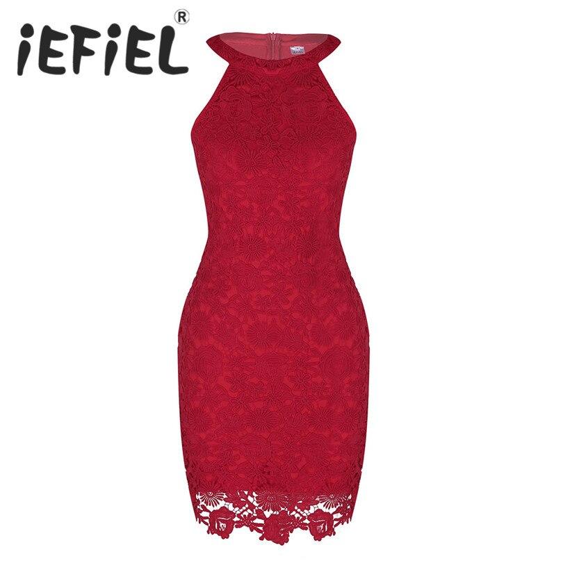 iEFiEL Women Ladies Party Dress Halter Neck Sleeveless Floral Lace Formal Occasion Dress Women Elegant Bodycon Summer Dress