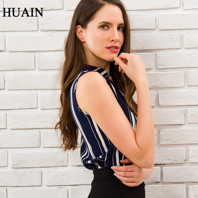 Blue Striped Blouse Shirt Sexy Sleeveless V-neck Summer Top 2018 Office Ladies Work Wear Fitness Female Korean Fashion Clothing 4