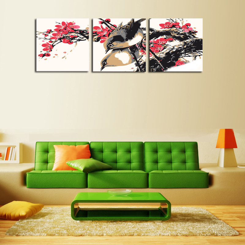 Unframed 3 Sets Canvas Red Flowers With Birds Painting Art