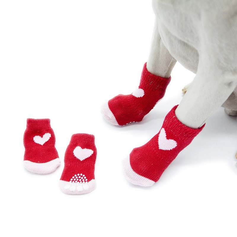 Christmas Red Snowflake Pet Dog Puppy Cat Shoes Slippers Non-Slip Socks with Paw Prints