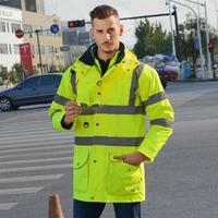 SFvest EN471 ANSI/море 107 как/NZS Hi vis Водонепроницаемый 7 в 1 куртка с светоотражающие ленты безопасности спецодежда зимняя куртка