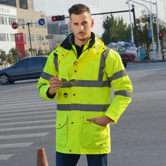 SFvest EN471 ANSI/SEA 107 AS/NZS Hi vis waterproof 7 in 1 jacket with reflective tape safety workwear winter jacket ansi sea 107 hi vis safety reflective winter parka men jacket workwear rain jacket orange rain coat with reflective stripes