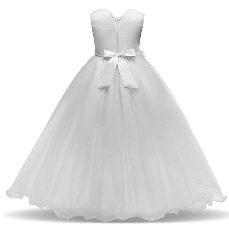 Длинное детское кружевное платье принцессы для девочек на свадьбу, день рождения, вечеринку, подростковое вечернее платье для девочек, платья для выпускного вечера для девочек, От 6 до 14 лет