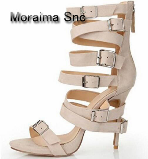 купить Moraima Snc Narrow-band Cutouts Thin Heels Sandal Nude PU Leather High Heel Sandal 2018 Sexy Open Toe Buckle Strap sandals по цене 6255.77 рублей