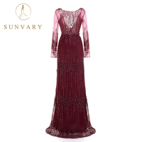 Sunvary High end Luxury Sequins Women's Celebrity Dresses Floor Length Tulle Applique Red Dress Long Sleeve A Line Party Dress