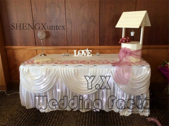 New Design Ice Silk Table Skirt With Led Light For Wedding Event Table Cloth Decoration - White Color