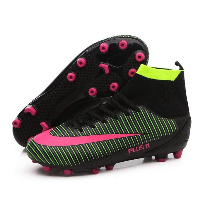 US $24.29 46% di SCONTO|LEOCI Uomini Bambini scarpe Da Calcio Con Alta Caviglia High Top Scarpe Da Calcio Lungo Spikes Scarpe Da Calcio Formazione