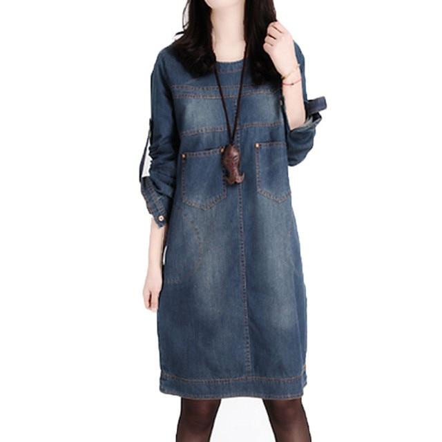 Us 1938 49 Off2019 Winter Autumn Denim Dress Long Sleeve Korean Loose Dress Large Size Womens Retro Jeans Dress Causal Mini Vestido De Festa In