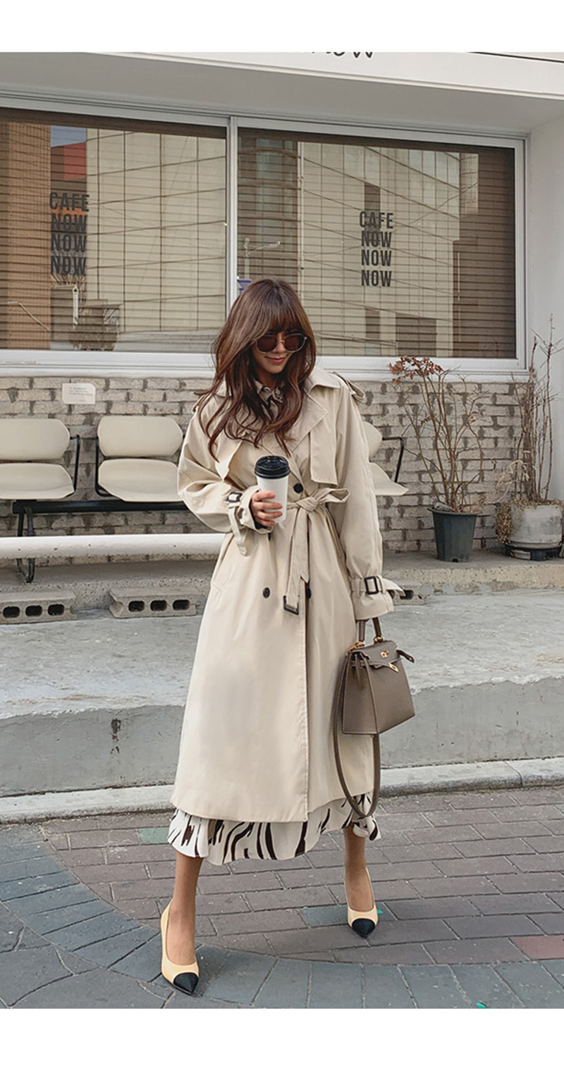 19 New Autumn Winter Women's Coat Korean Windbreaker Female Plus Size Double Breasted Ladies Long Chic Trench Coats 2