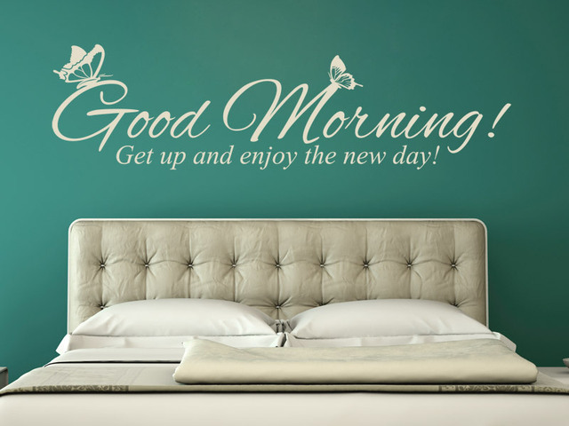 Decal Good Morning Get Up And Enjoy The New Day Wall Sticker Home Decoration Art House Decor