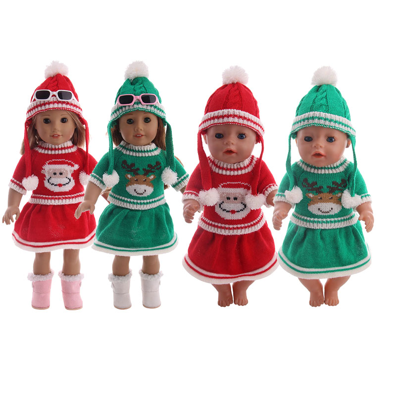 Doll Sweater Clothes Set=Hat+Dress Fit 18 Inch American&43 Cm Born Baby Our Generation Christmas Birthday Girl's Gift