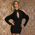 NEW 2016 Women Summer Party Dress Low Cut Sexy Night Club Dresses Off Shoulder Mini Black Bodycon Bandage Dress Girls  W103049