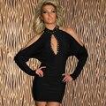 NUEVO 2016 Del Partido Del Verano Mujeres Del Vestido Escotado Atractivo de La Noche Club de los Vestidos Del Hombro Mini Negro Bodycon Del Vendaje Del Vestido Niñas W103049