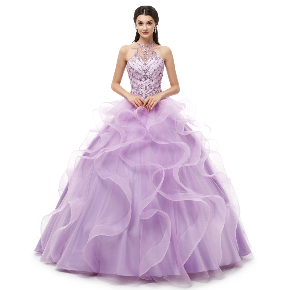 Robes de 15 años 2019 Sweet 15 robes lilas Quinceanera robes licou cou robe de bal robe à volants jupe vraies Photos