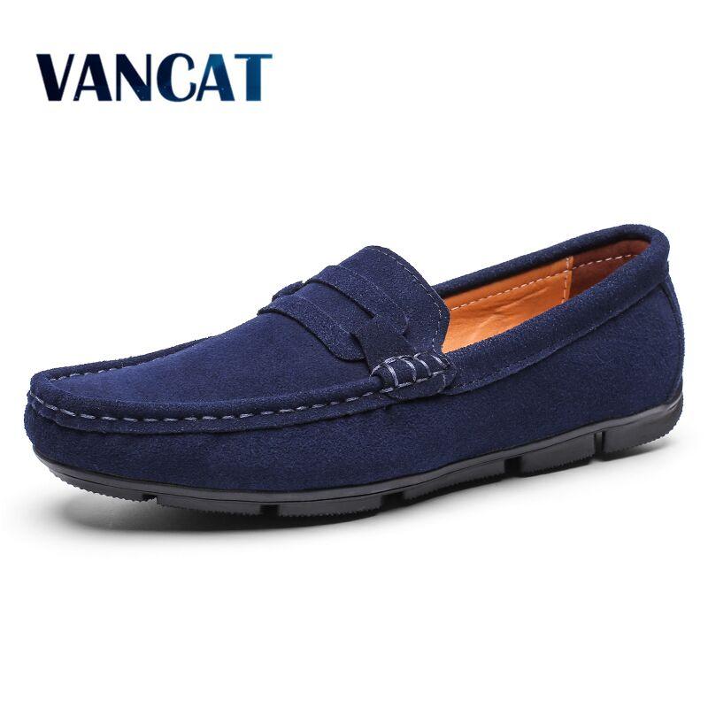 Vancat Brand Men Casual Shoes Spring Autumn   Suede     Leather   Men's Flats Fashion Loafers Luxury Men's Shoes Dress Oxfords Shoes