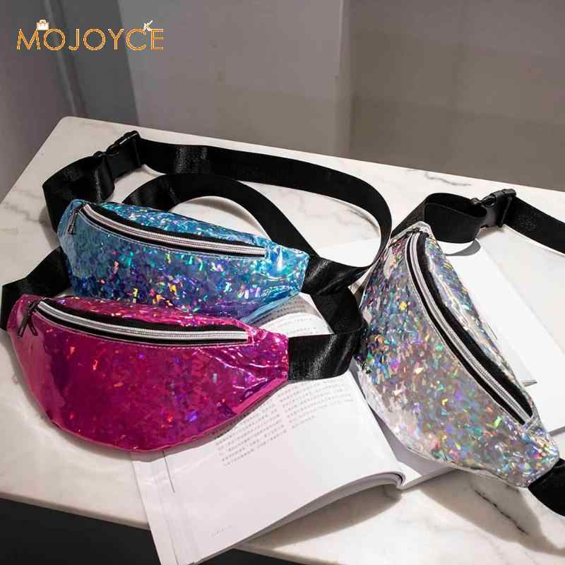 ac96d659be8b Fashion Women Men Waist Bag PU Leather Belt Waterproof Pack Phone Female  Hip Bags Fanny Packs Casual Holographic Chest Bags New