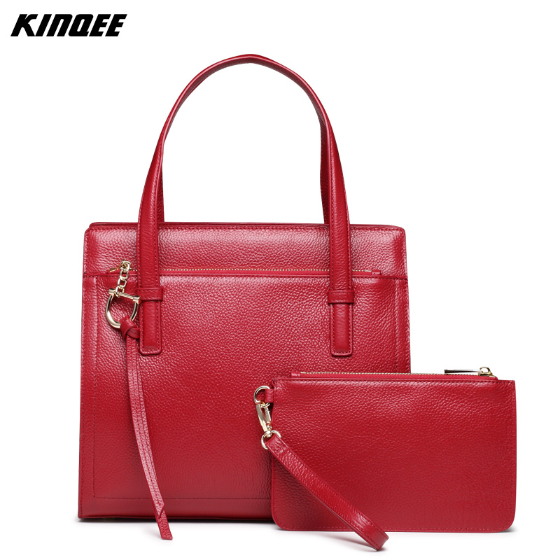 Casual Tote Genuine Leather Women Solid Handbags Crossbody Bags Cow Leather Master Bag High Quality Child-Mother 30CM
