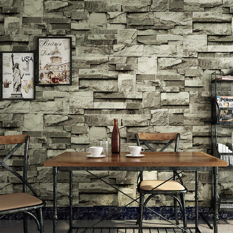 3D Embossed Wall Brick Wallpaper Vintage Grey Stone Brick Wall Paper For  Wall 3D Restaurant Cafe Bedroom Backdrop Wall Art Decor