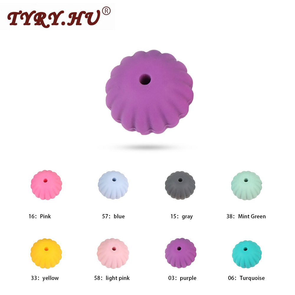 TYRY.HU 10pcs Food Grade 18mm Round Silicone Beads Baby Teething Toys DIY Making Oral Care For Necklaces BPA Free Baby Teethers