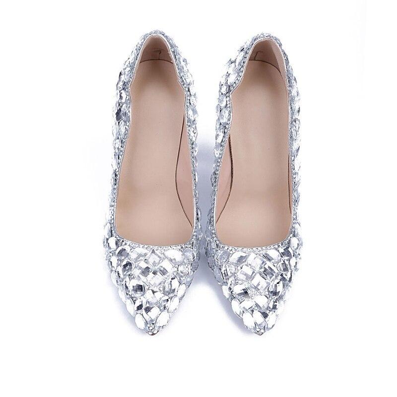 2019 11cm Cristal Verre Mariage Talon Nouvelle De Partie Silver Banquet Chaussures Talons Haute Main Bal Bout Femmes Pompes Pointu Cendrillon 34q5RjcAL