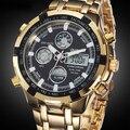 Relógios militares Homens Luxo Marca Aço Completa Assista Sports Quartz Multi-função LED Waterpoof relógio de Pulso Relogio masculino Ouro
