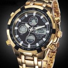 ミリタリー腕時計男性高級ブランドフルスチール時計スポーツクォーツ多機能led waterpoofゴールド腕時計レロジオmasculino