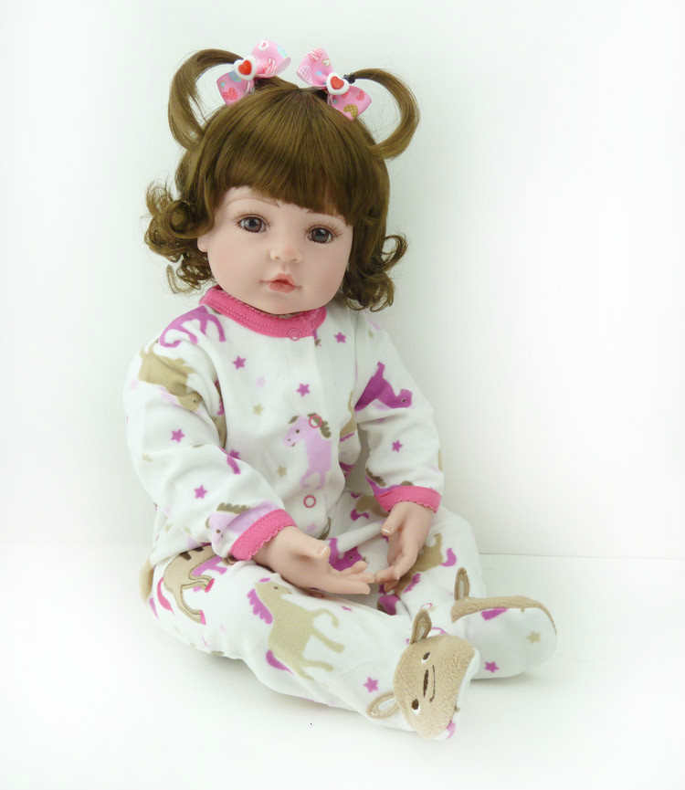 22 Soft Vinyl Silicone Lifelike Reborn Baby Doll Toys Fashion Gift Newborn Babies Girl Toys Dolls with Short Curly Brown Hair short curl hair lifelike reborn toddler dolls with 20inch baby doll clothes hot welcome lifelike baby dolls for children as gift