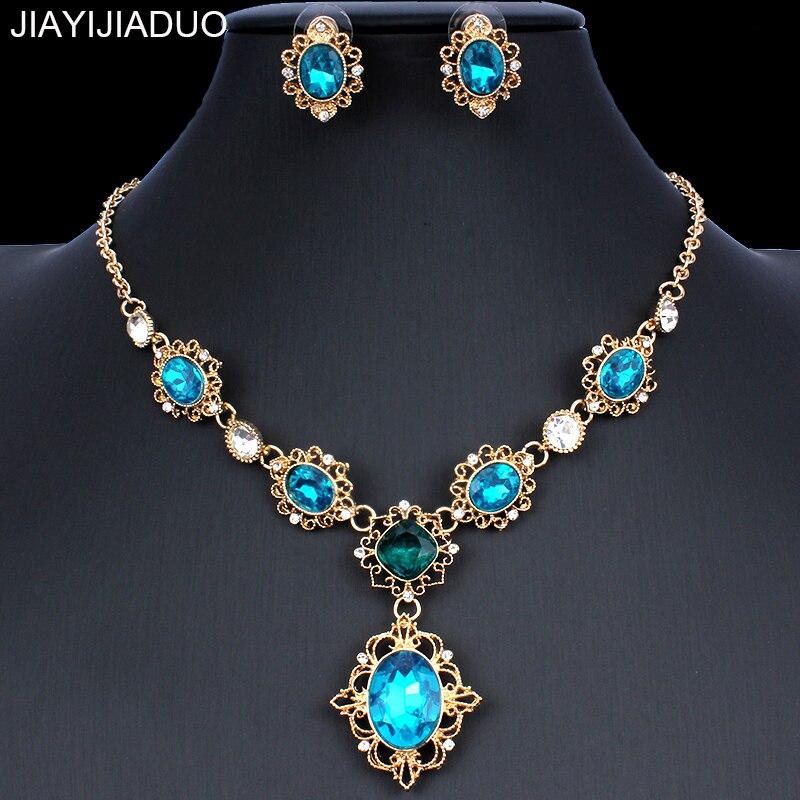 Schmuck & Zubehör Jiayijiaduo Klassische Loch Blau Kristall Halskette Ohrringe Schmuck Set Für Edle Frauen Schmuck Zubehör Geschenke