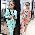 2017 Spring Autumn Fashion Girls Clothing Sets Kids Sports Wear 3pcs/set Coats+T-Shirt+Elastic Pants Girls 3Color Sets For 3-14Y