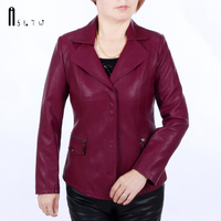 XL 6XL Leather Jacket Women Washed Pu Spring And Autumn Middle Aged Mother Young Ladies Suit